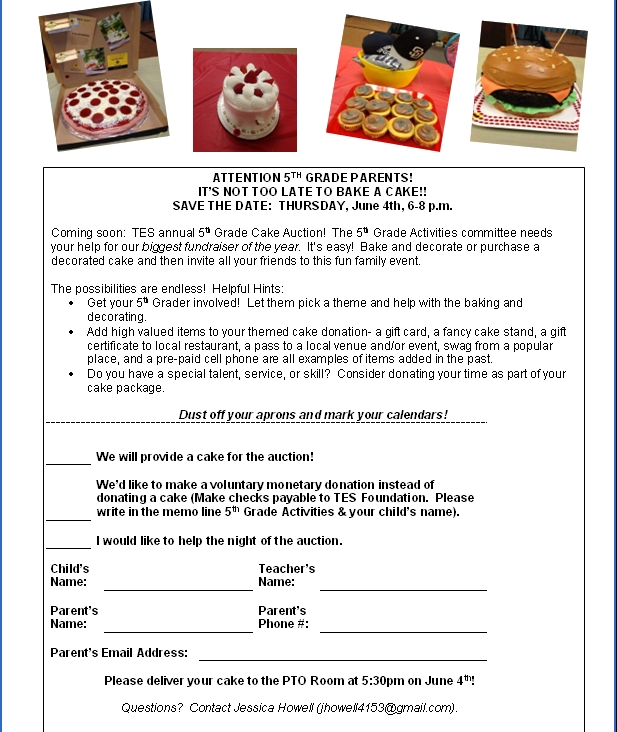 2015 Cake Auction Flyer